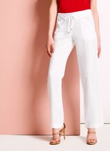 Modern Fit Straight Leg Linen Pants, White, hi-res