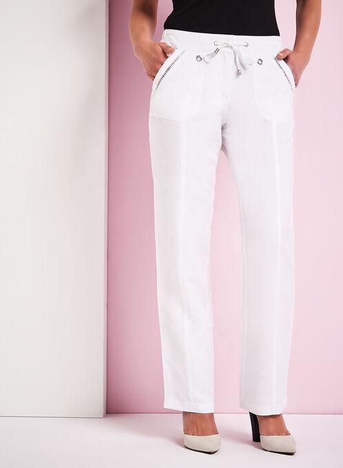 Pointelle Trim Wide Leg Pants, White, hi-res