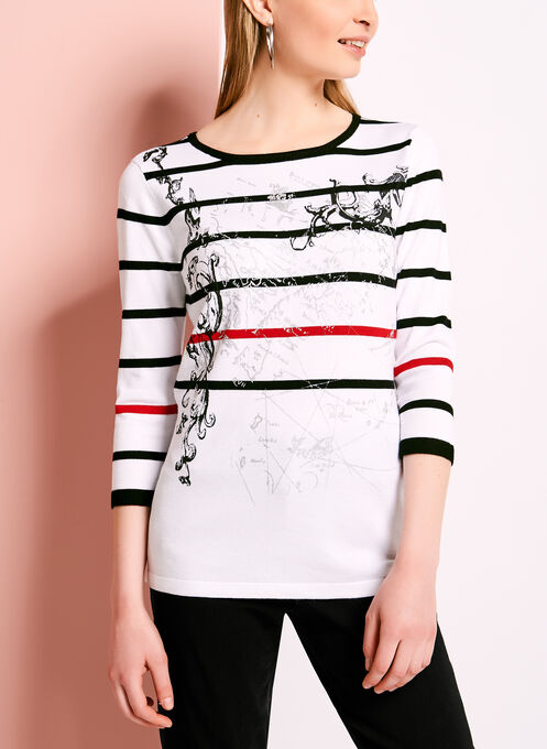 Stripe & Abstract Print Top, White, hi-res