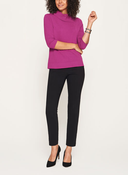 Split Funnel Neck Cropped Sweater, Pink, hi-res