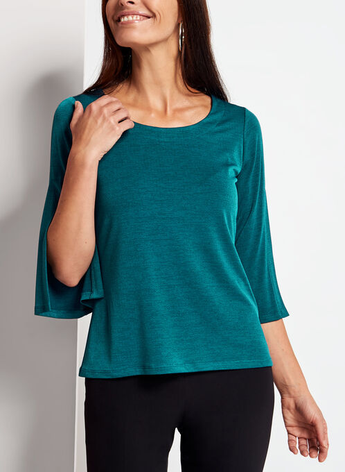 3/4 Split Bell Sleeve Top, Blue, hi-res