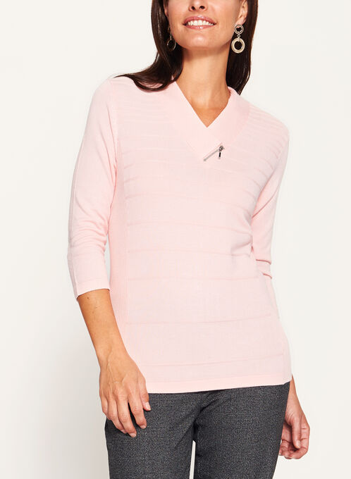 V-Neck Zipper Trim Sweater, Pink, hi-res
