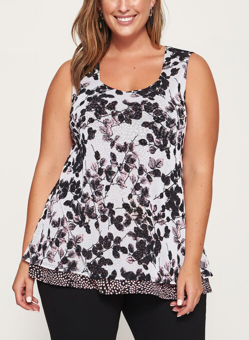 Floral Print Double Layer Top , White, hi-res