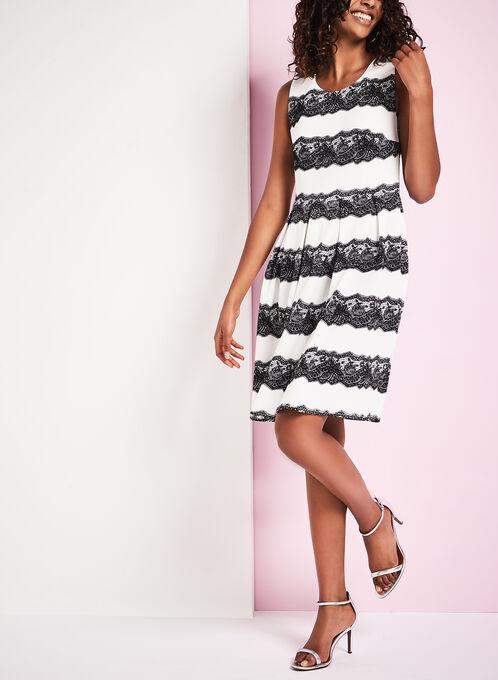Sleeveless Knit Lace Print Dress, White, hi-res