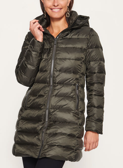 Hooded Quilted Down Coat, Green, hi-res