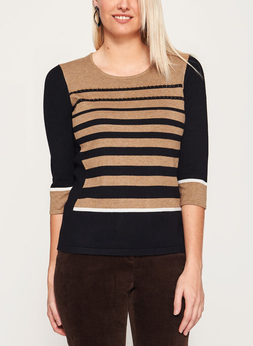 3/4 Sleeve Scoop Neck Sweater, Brown, hi-res