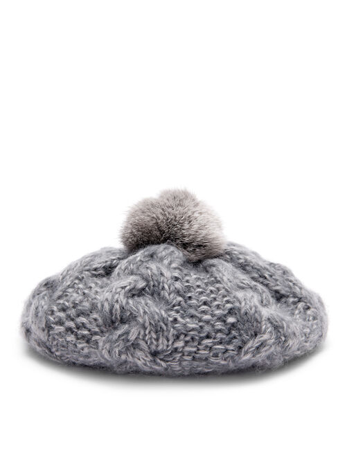 Knit & Rabbit Fur Beret , Grey, hi-res