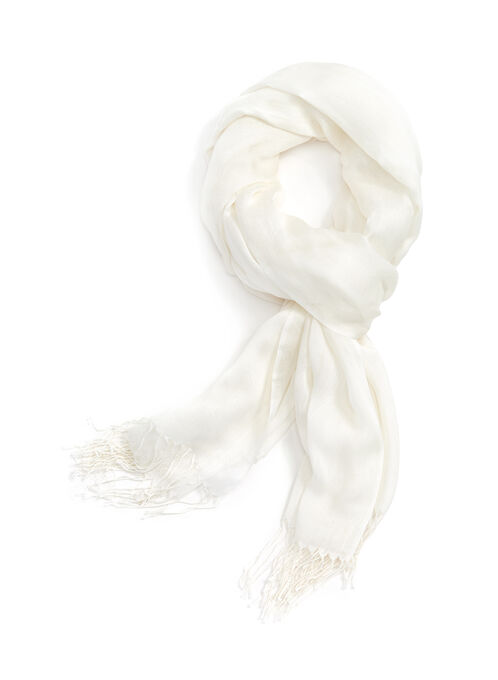 Solid Fringed Wrap Scarf, White, hi-res