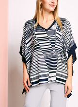 Stripe & Dot Print Poncho Blouse, , hi-res