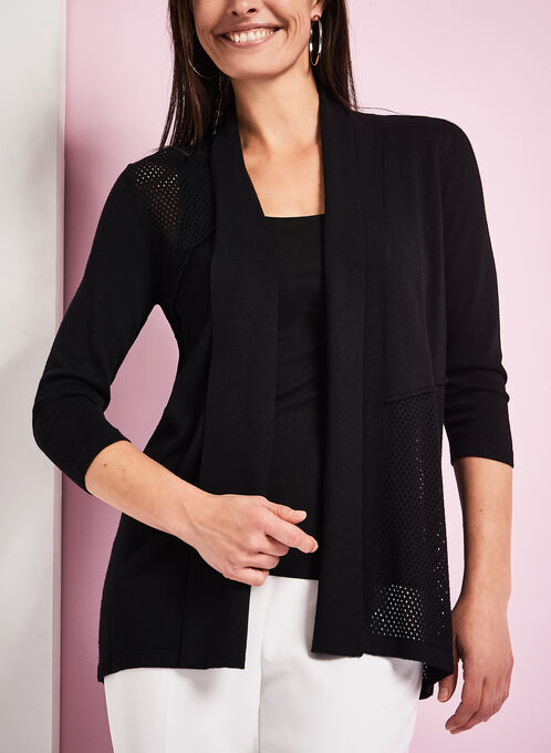 3/4 Sleeve Pointelle Cardigan, Black, hi-res