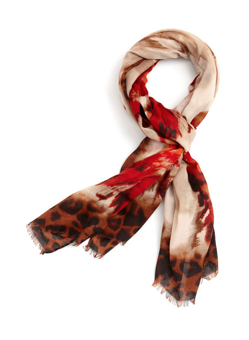 Floral Animal Print Scarf, Orange, hi-res