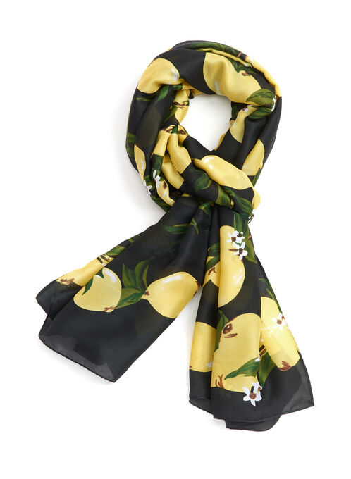 Lemon Print Scarf, Gold, hi-res