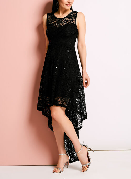High Low Glitter Lace Dress, Black, hi-res