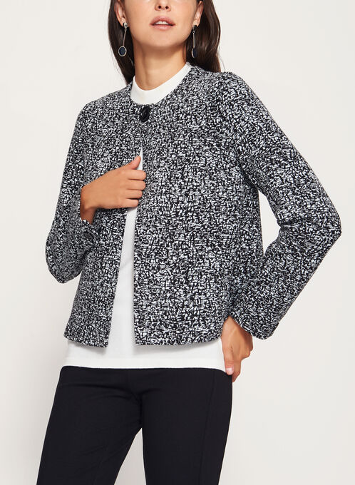 One-Button Ponte Jacket, Black, hi-res