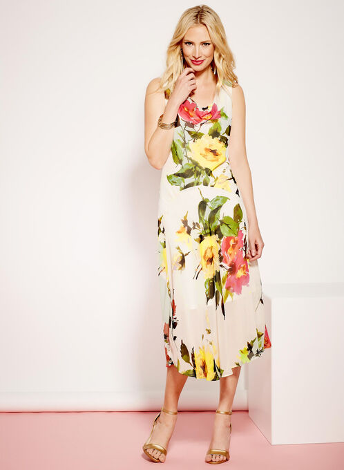 Cowl Neck Floral Print Midi Dress, White, hi-res
