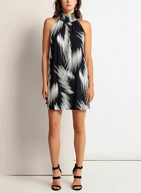 Mock Neck Brushstroke Print Dress, Black, hi-res