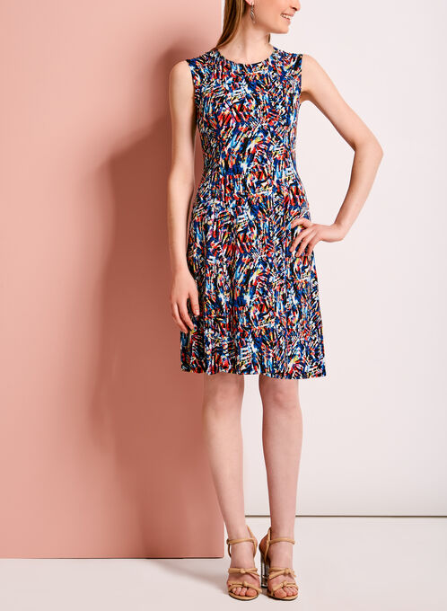 Abstract Print Fit & Flare Dress, Red, hi-res