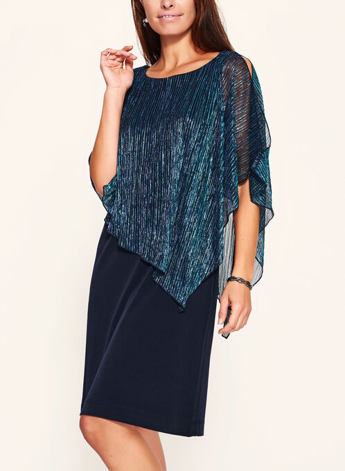 Pleated Metallic Poncho Dress, Blue, hi-res