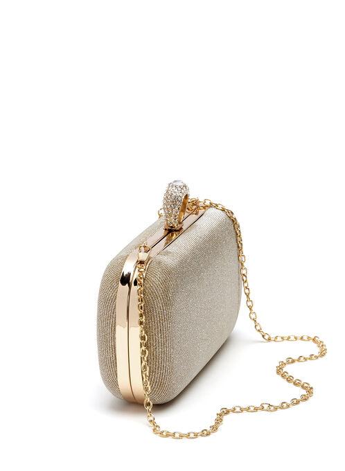 Crystal Ring Embellished Box Clutch, Gold, hi-res
