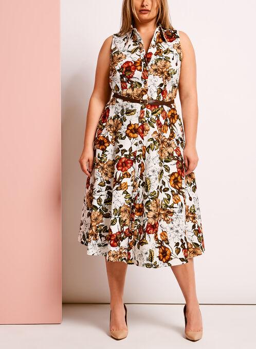 Cotton Floral Button Down Dress, White, hi-res
