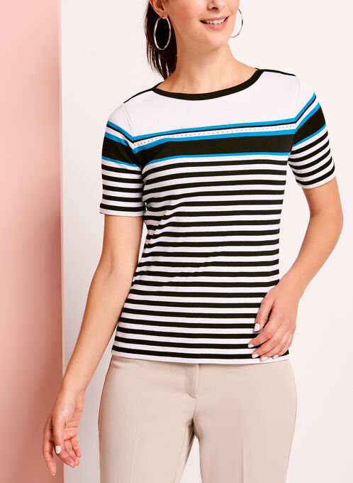 Embellished Stripe Cotton T-Shirt, Black, hi-res