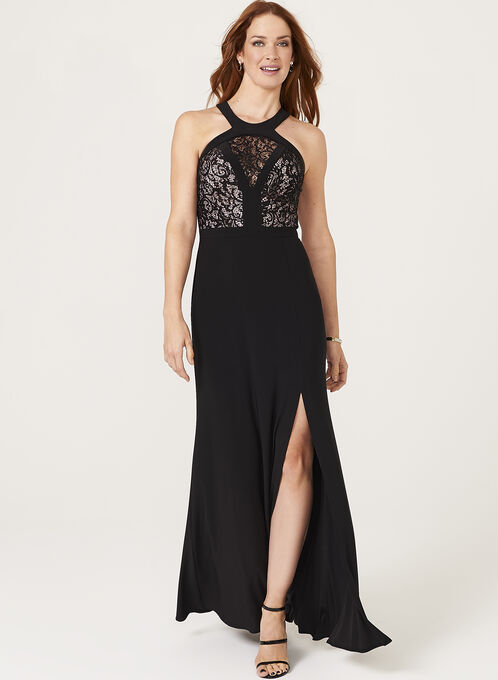 Sequin Lace Cleo Neck Dress, Black, hi-res