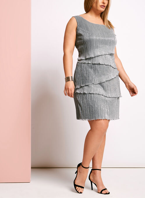 Tiered Plissé Lurex Dress, Grey, hi-res