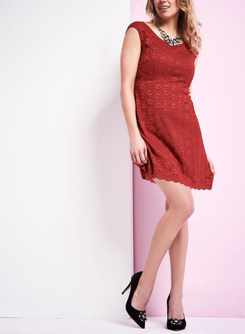 Extended Shoulder Lace Dress, Red, hi-res