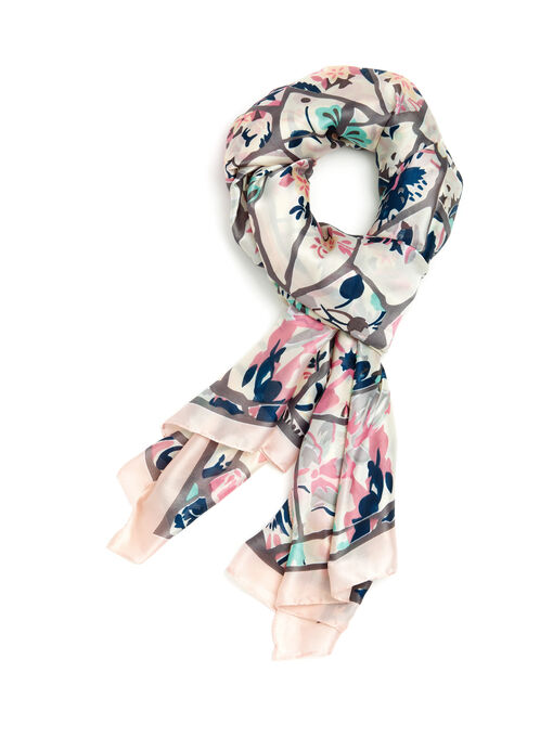 Stained Glass Floral Motif Scarf, Pink, hi-res