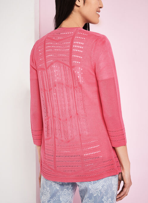 3/4 Sleeve Pointelle Knit Cardigan, Pink, hi-res