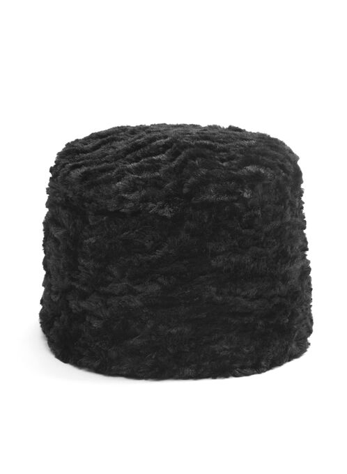 Solid Faux Fur Hat, Black, hi-res