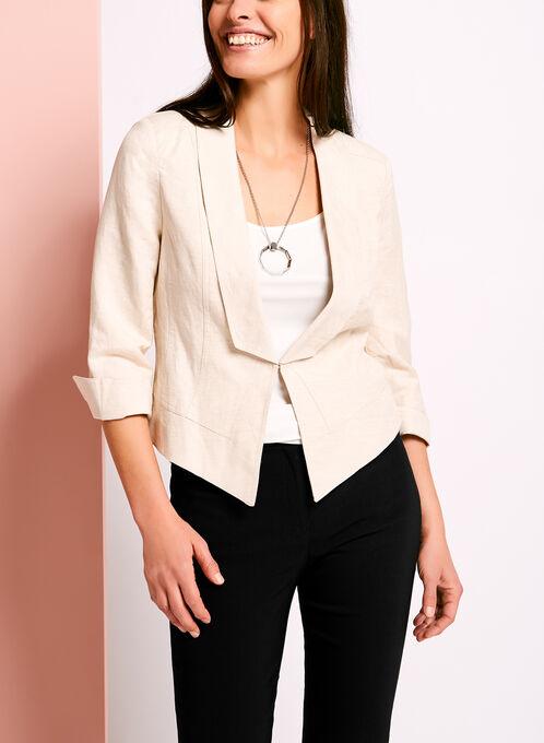 3/4 Sleeve Linen Blazer, Grey, hi-res