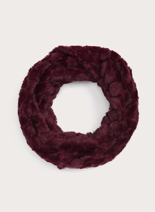 Faux Fur Tube Scarf, Red, hi-res