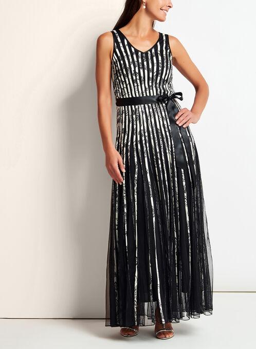 Sleeveless Floral Print Mesh & Satin Dress, Black, hi-res