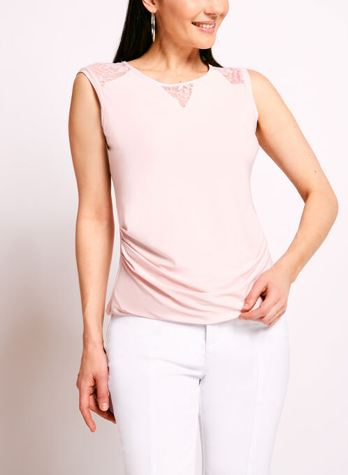 Lace Trim Sleeveless Ruched Top, Pink, hi-res