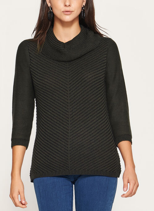 3/4 Sleeve Cowl Neck Knit Sweater , Green, hi-res