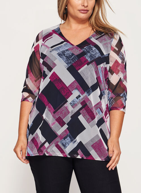 Illusion Sleeve V-Neck Top , Multi, hi-res