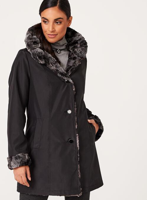 Novelti - Faux Fur Reversible Coat, Black, hi-res