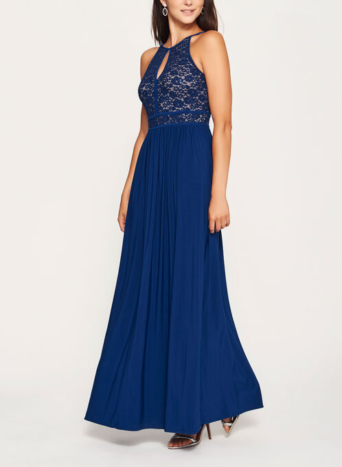 Glitter Lace and Sequin Halter Dress, Blue, hi-res