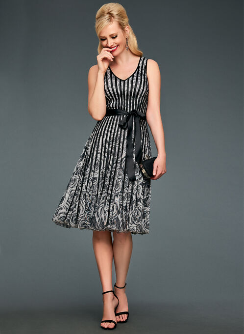 Rose Print Satin Stripe Dress, Grey, hi-res