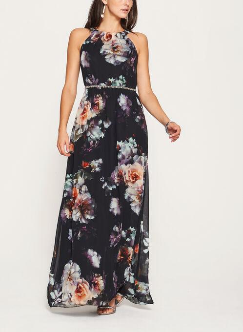 Floral Print Chiffon Dress , Black, hi-res
