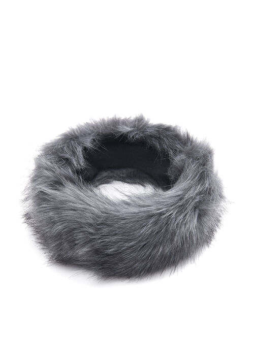 Faux Fur Headband, Grey, hi-res
