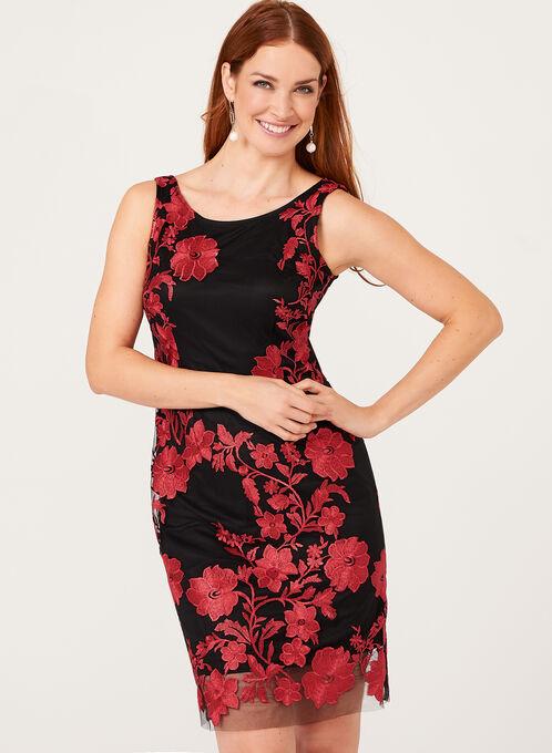 Embroidered Mesh Sheath Dress, Black, hi-res
