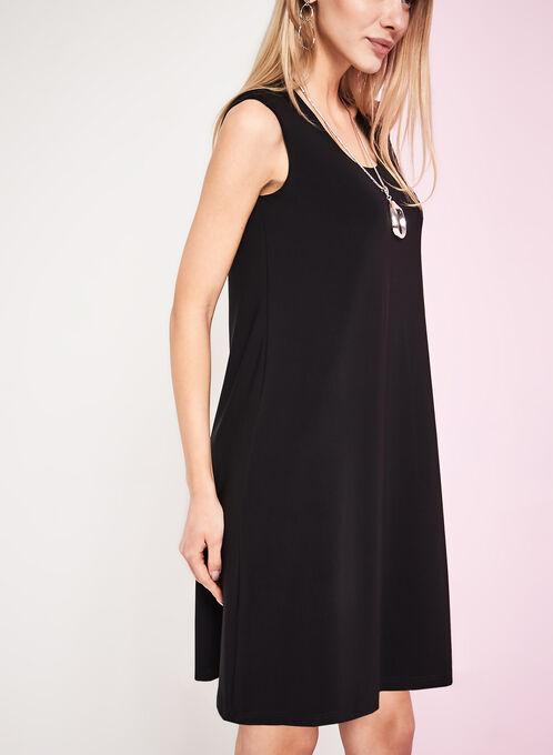 Scoop Neck Trapeze Dress, Black, hi-res