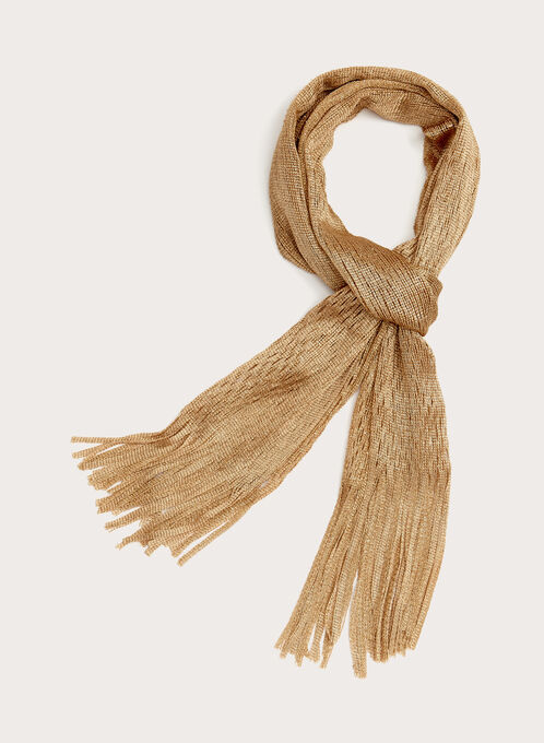 Fringed Honeycomb Scarf, Gold, hi-res