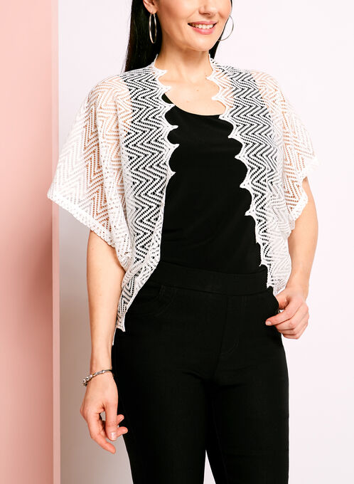 Open Front Crochet Bolero, White, hi-res