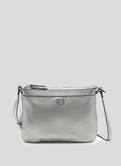 Double Zip Crossbody Bag, Silver, hi-res