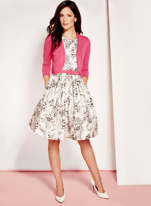 Pleated Floral Print Dress with Bolero, White, hi-res