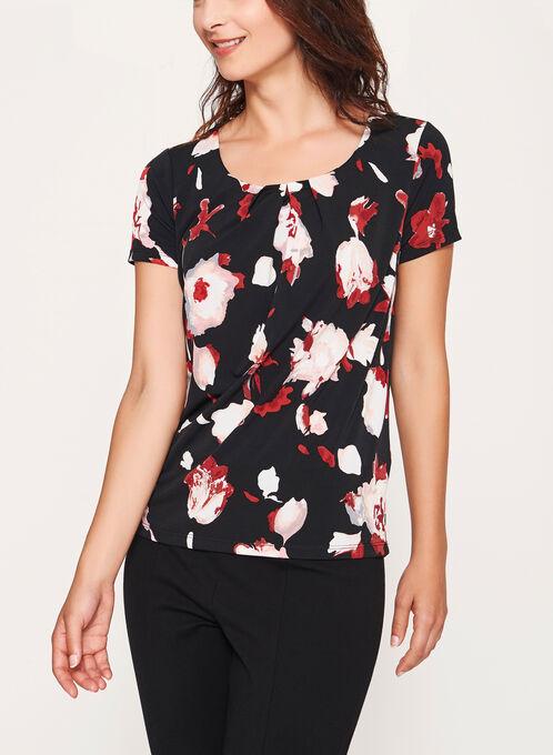 Abstract Floral Print Top, Black, hi-res