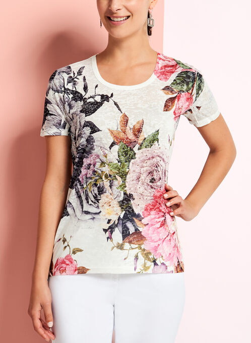 Floral Print Burnout T-Shirt, Multi, hi-res